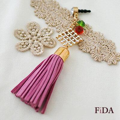 流蘇奧地利水晶菱形鑲鑽 手機吊飾-FiDA