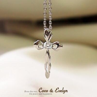 925 純銀 鑲晶亮鋯石十字架 項鍊-FiDA