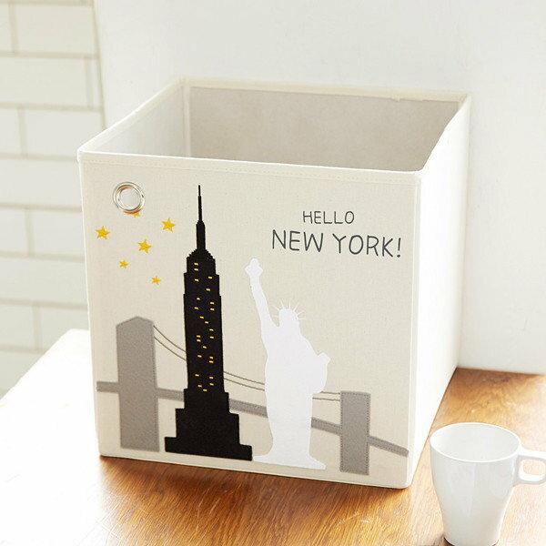 美國【KAIKAI&ASH】城市系列收納箱-HELLO!紐約摺疊收納箱玩具收納箱整理箱設計風棉麻不織布