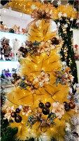 幫家裡聖誕佈置裝飾推薦聖誕樹及聖誕花圈到X射線【X030054】6尺金色高級松針成品樹(咖啡金色系),內含聖誕樹+聖誕燈+聖誕花+蝴蝶結緞帶+聖誕球+聖誕飾品+花材 聖誕佈置裝飾推/ 聖誕佈置裝飾推薦就在X射線 精緻禮品推薦幫家裡聖誕佈置裝飾