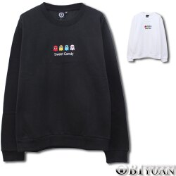 重磅刷毛大學T【JG6855】OBI YUAN韓版Sweet Candy精靈電繡長袖上衣 共2色