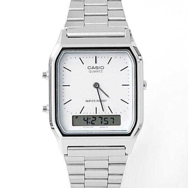 CASIO卡西歐方型白面雙顯鋼錶~NEC45~柒彩年代