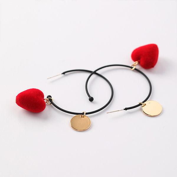 PS Mall 韓版紅色絲絨愛心小圓牌大圈圈耳環簡約ins網紅耳圈耳飾【G035】 1
