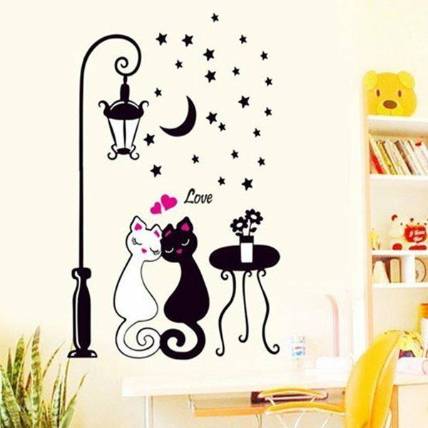 BO雜貨【YV5048】可重複貼 牆貼壁貼紙 背景貼 時尚組合壁貼 貓咪璧貼 星星月亮 房間客廳 居家裝飾-情侶貓