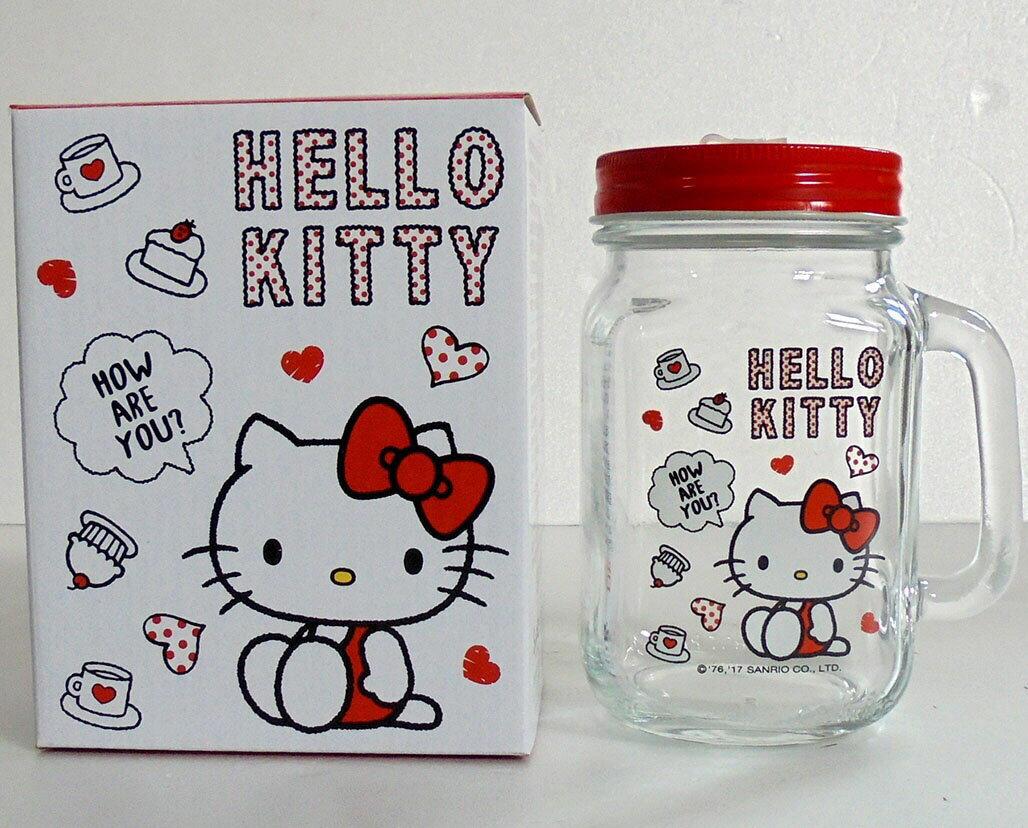 【真愛日本】17112000005 玻璃梅森杯-KT午茶紅 三麗鷗 kitty 凱蒂貓 玻璃杯 保鮮罐 收納罐