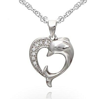 925純銀項鍊 鑲鑽吊墜~ 海豚可愛亮眼母親節情人節生日 女飾品73dk261~ ~~米蘭