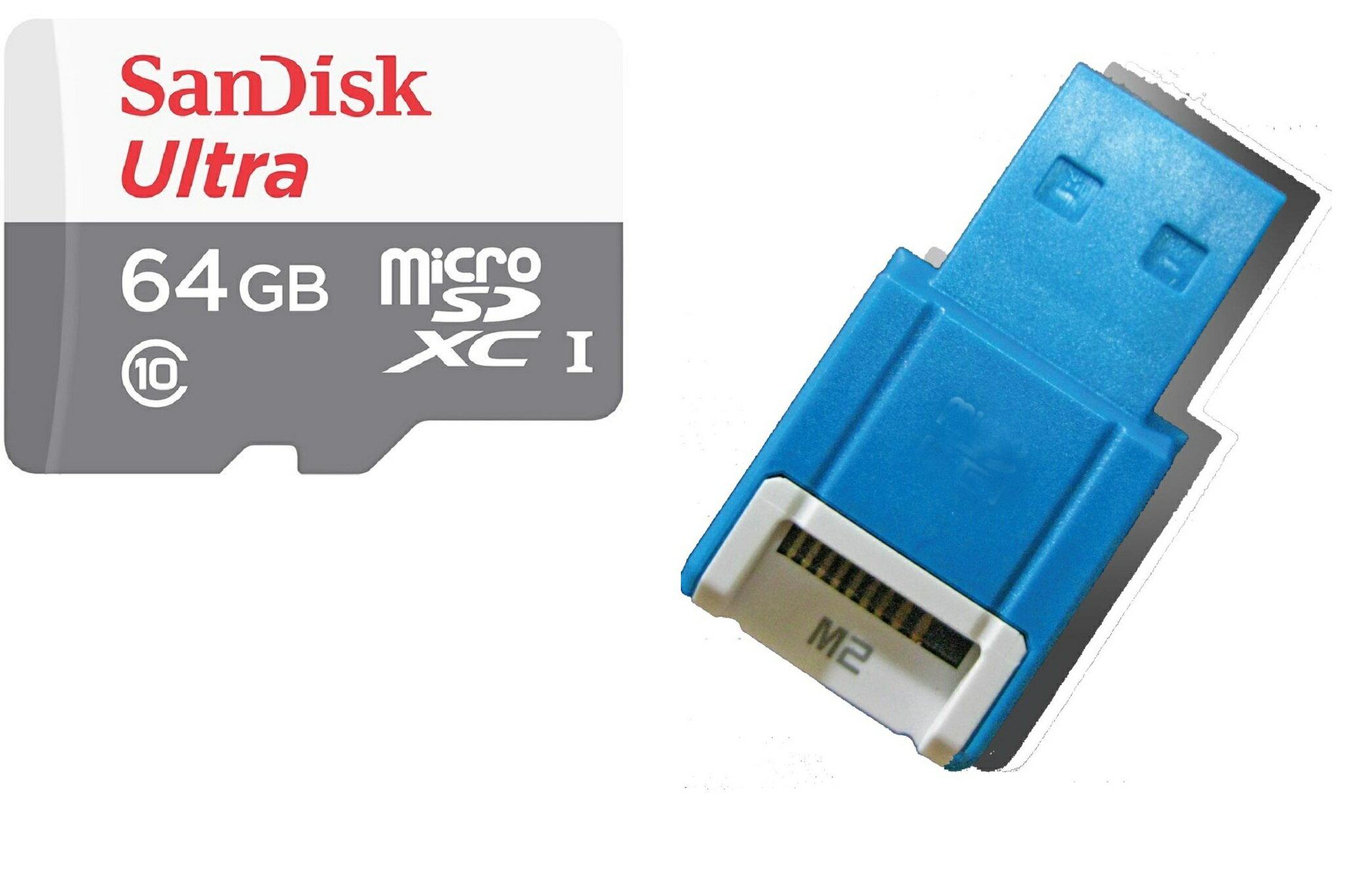 SanDisk Ultra 64GB 80MB/s microSDXC 64G microSD micro SD SDXC UHS-I C10 Class 10 Flash Memory Card SDSQUNS-064G + OEM USB 2.0 Card Reader 0