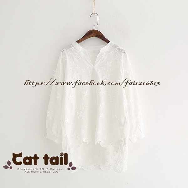 《貓尾巴》LZ-02962 韓版簡約V領立體星星純色長袖上衣(森林系 日系 棉麻 文青 清新)