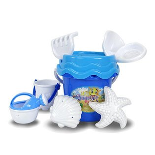 【888便利購】8件式藍色水桶玩沙工具組(沙灘組)