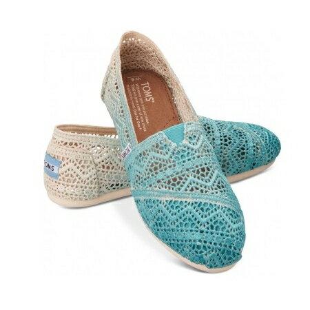 【TOMS】藍色漸層蕾絲平底休閒鞋  Zig Zag Crochet Baltic Dip-Dyed Women's Classics