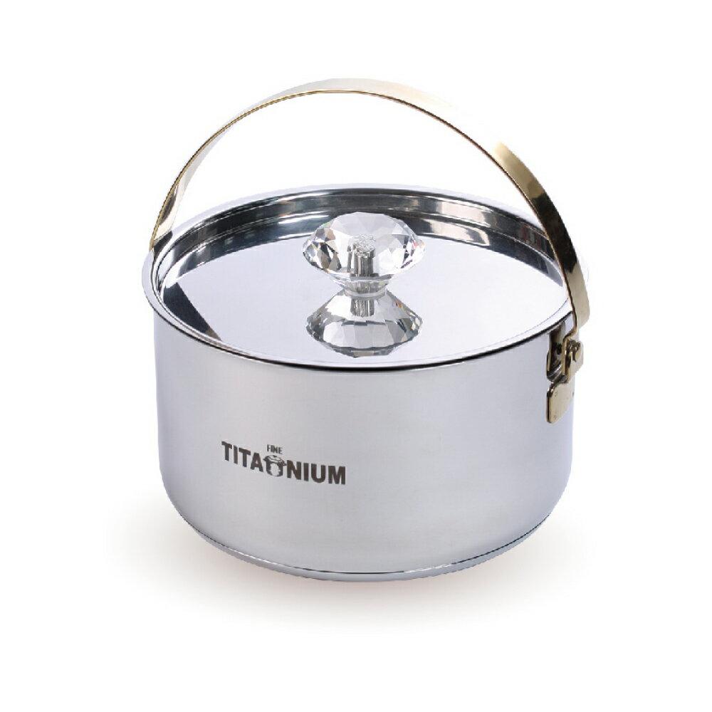 [送湯杓] 瑞士LUCUKU 純鈦鑽石輕巧料理鍋 18cm 附蓋 IH爐可用 【蘋果樹鍋】