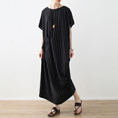 連身長裙寬版連衣裙-橫直條紋拼接休閒女上衣73sm57【獨家進口】【米蘭精品】