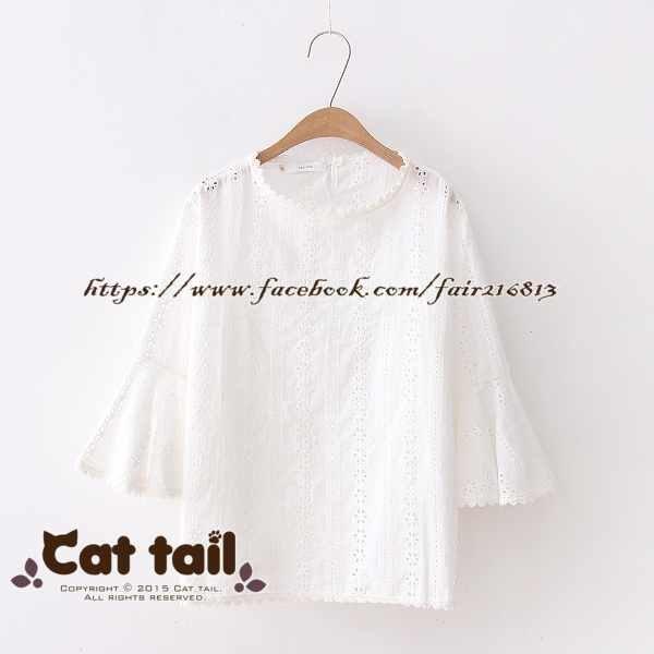 《貓尾巴》TS-0852簡約素雅鏤空喇叭袖短袖襯衫(森林系日系棉麻文青清新)