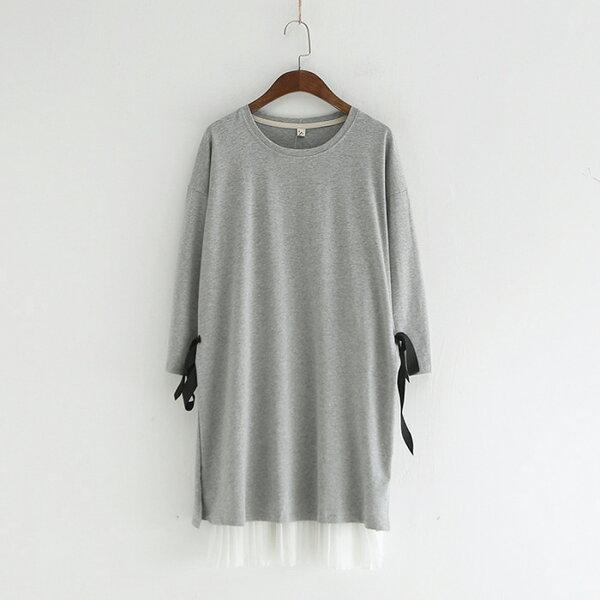 兩件套圓領純色繫帶T恤+雪紡吊帶裙連身裙樂天時尚館。預購。[全店免運]