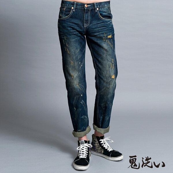 【均一價1580】鬼洗漩渦低腰直筒褲-BLUEWAYONIARAI鬼洗