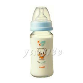 Combi 康貝 Kuma Kun 寬口耐熱玻璃哺乳瓶240ml (藍) 【悅兒園婦幼生活館】