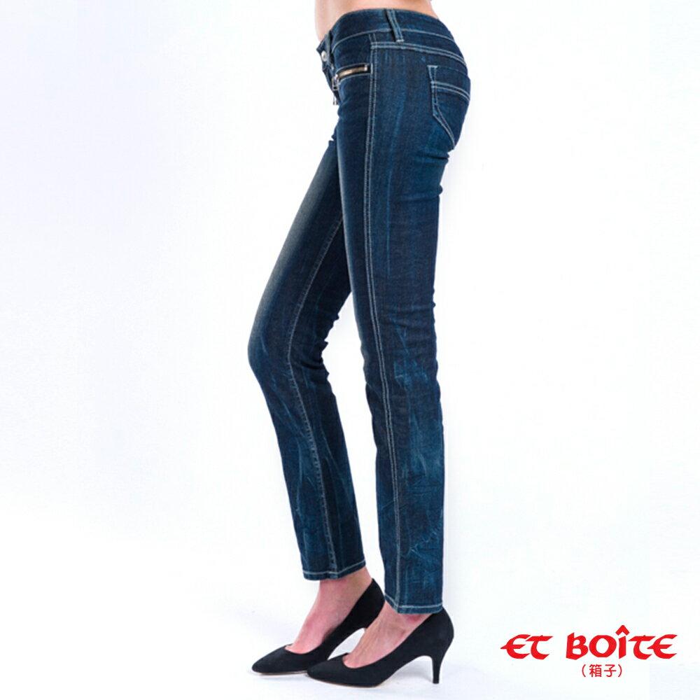 【限時超低價$990】顯瘦俏臀ET 拉鍊窄直筒褲 - BLUE WAY  ET BOiTE 箱子 2