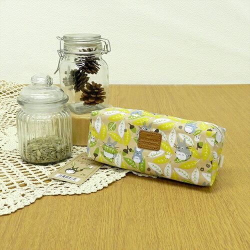 【真愛日本】 15111500006 筆袋-滿版綠葉龍貓皮LOGO 龍貓TOTORO豆豆龍 筆袋 鉛筆盒 收納 文具