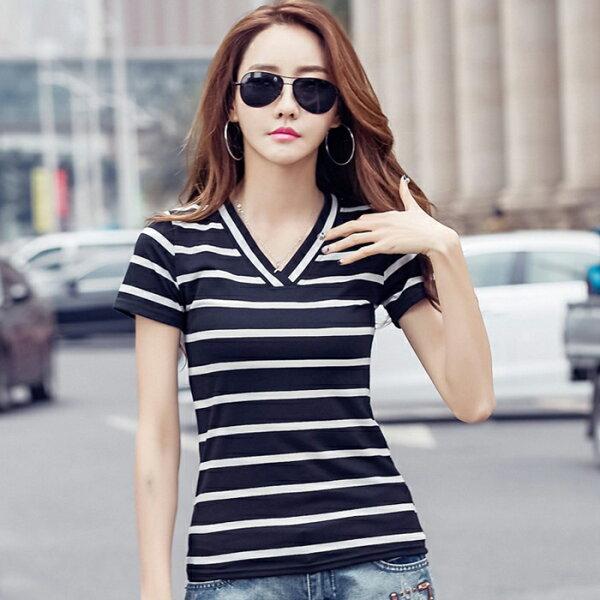 糖衣子輕鬆購【GH8630】韓版時尚百搭寬鬆顯瘦V領條紋T恤上衣
