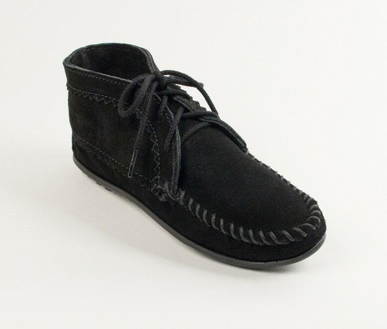 【Minnetonka 莫卡辛】黑色 - 印地安手工麂皮踝靴 0