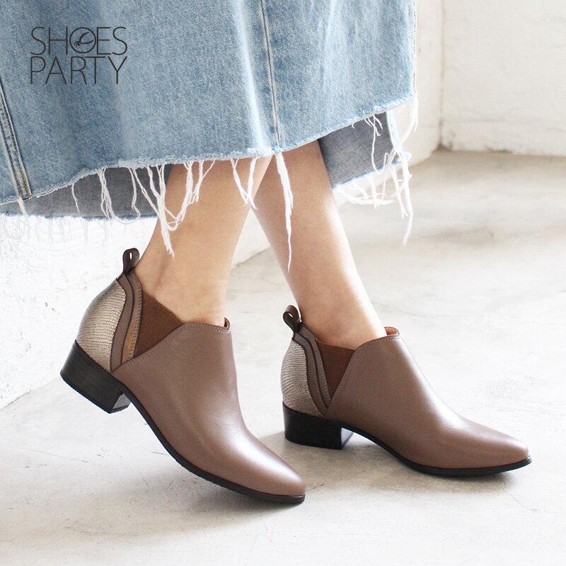 【B2-18719L】多重拼接真皮個性踝靴_Shoes Party 2