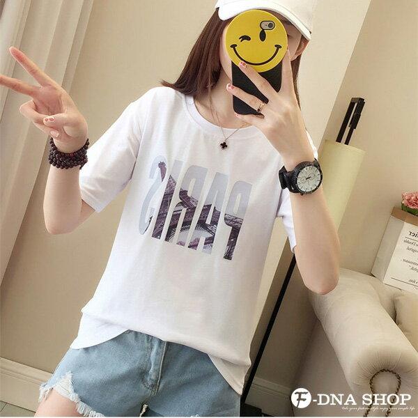 F-DNA★PARIS鐵塔印圖圓領短袖上衣T恤(3色-M-2XL)【ET12699】 4