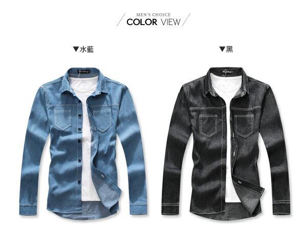 ☆BOY-2☆【NC3809】韓簡約縫線牛仔襯衫 1