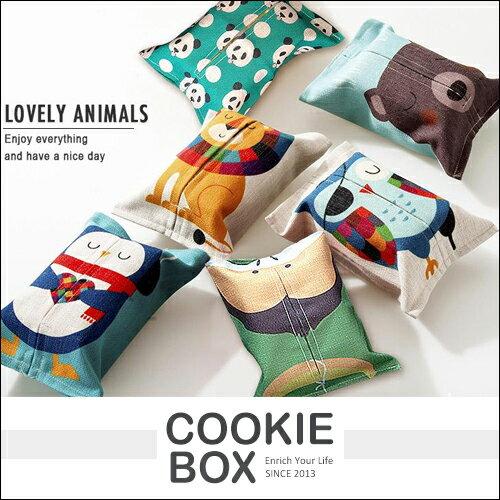 簡約 棉麻 卡通 紙巾套 可愛 動物 衛生紙套 面紙套 自然 *餅乾盒子*