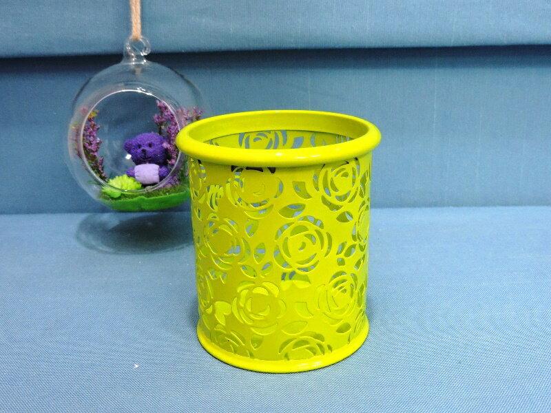◤彩虹森林◥~亮綠色~鐵製玫瑰雕花筆筒 置物桶 收納桶 文具桶 花器 收納整理 小物收納