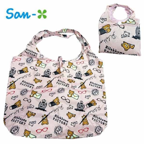 粉色款【日本進口】San-X 拉拉熊 摺疊 購物袋 環保袋 手提袋 防潑水 懶懶熊 Rilakkuma - 437596