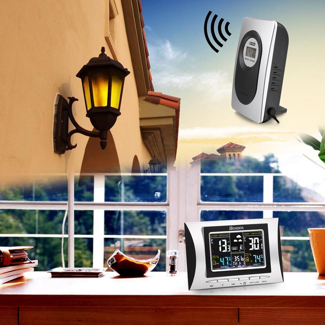 Homdex 433MHz Wireless LCD Display Digital Color Weather Forecaster Station Clock with Remote Sensor 0
