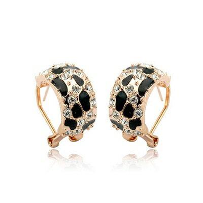 ~玫瑰金耳環925純銀鑲鑽耳飾~ 百搭豹紋 七夕情人節 女飾品73gs111~ ~~米蘭