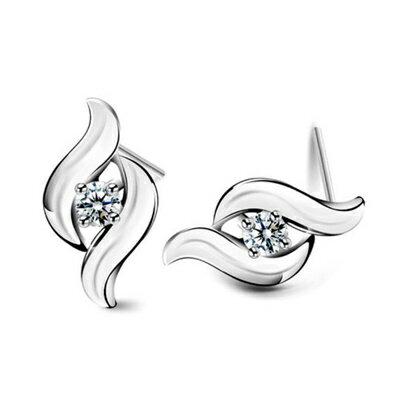 ~925純銀耳環鑲鑽耳飾~高雅簡約 生日情人節 女飾品2色73dz48~ ~~米蘭 ~