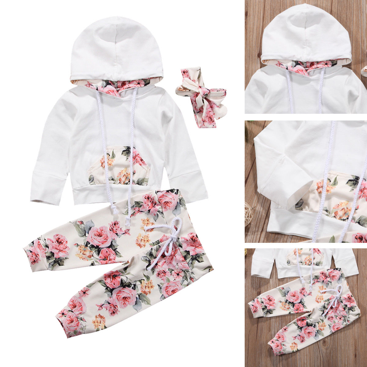 4cefe74f893b OOFashion  Baby Girl Infant Clothes Hooded Tops Pants Infant Outfits ...