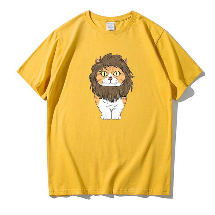 KUSO 搞笑 情侶裝 純棉短T MIT台灣製【YC686-13】萌寵 戴獅子鬃毛 橘貓  動物萌寵 快速出貨 1
