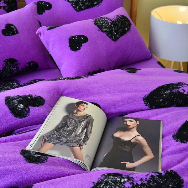Pure One:PureOne超保暖搖粒絨-愛戀惡魔-紫@加大四件式床包被套組@台灣製@SGS檢驗合格