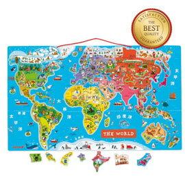 【法國Janod】磁性木質拼圖-世界地圖(中文版) 92pcs