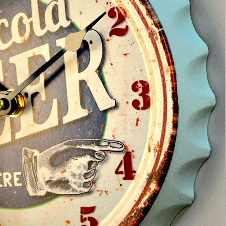 歐式美式創意奶茶店時鐘面壁飾酒吧啤酒蓋掛鐘掛表工藝軟裝飾品1入