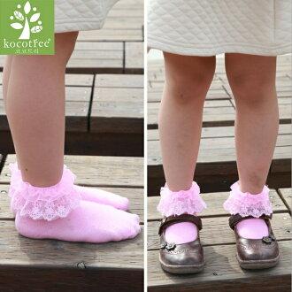 WallFree窩自在★可愛芭蕾風浪漫蕾絲兒童花邊襪短襪