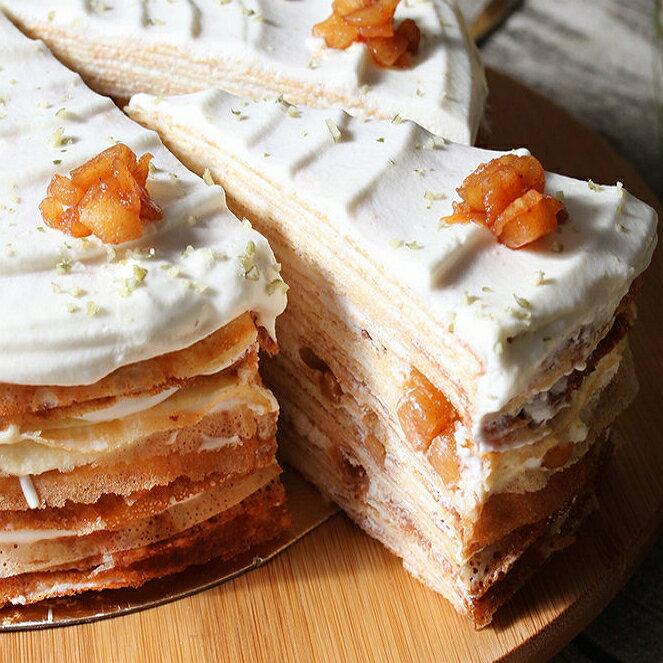 肉桂焦糖蘋果牛奶千層蛋糕 單片/8吋
