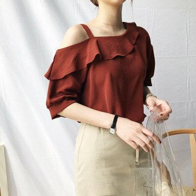 LIEN期間限定299元!韓系女裝氣質露肩上衣荷葉領甜美雪紡衫樂天時尚館。預購。[全店免運]