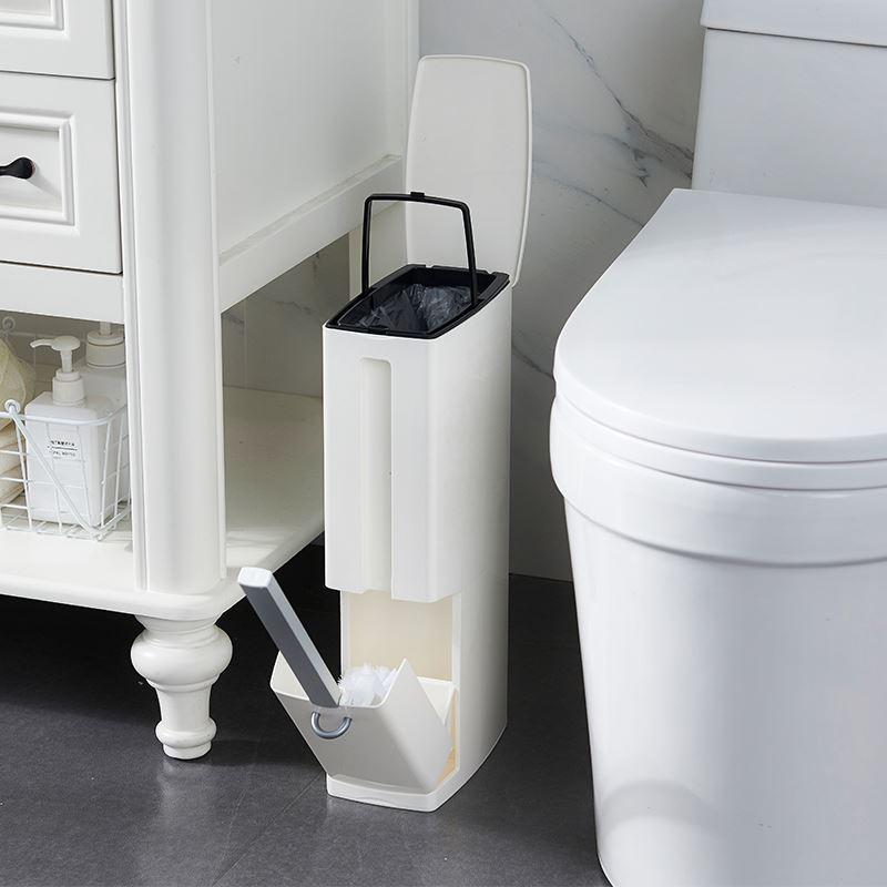 【日本設計】美學時尚隱藏式浴室垃圾桶馬桶刷2合1 (5公升)