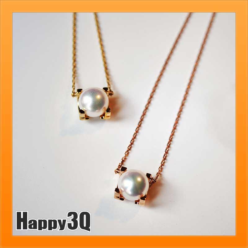 AKOYA海水珍珠日本進口18K金項鍊百搭氣質珍珠項鍊-金/玫瑰金【AAA2530】