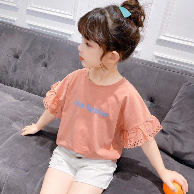 女童短袖上衣 女童t恤短袖夏中大童上衣潮童裝正韓洋氣荷葉邊兒童半袖-