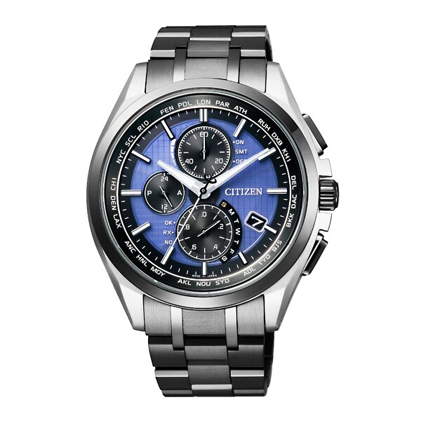 CITIZEN星辰AT8044-72L旗艦多功電波光動能鈦金屬腕錶/黑面43mm