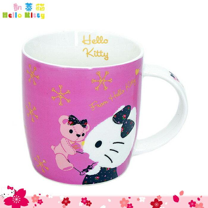 大田倉 韓國進口正版 Hello Kitty 凱蒂貓 陶瓷 馬克杯 小熊 粉紫色 水杯 茶杯 陶瓷杯三麗鷗 539906