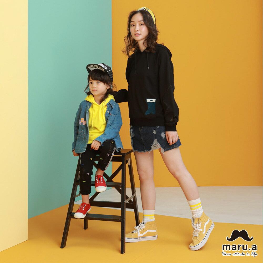 【maru.a】親子款連帽靴子繡花袖子網紗簍空休閒T-shirt(2色)8921216 / 8951211 0
