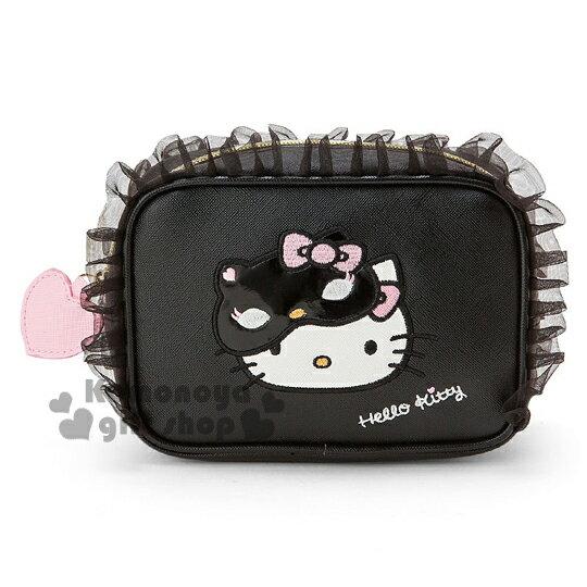 〔小禮堂〕Hello Kitty 皮革化妝包《黑.面具.粉蝴蝶結.蕾絲》CAT PARTY系列