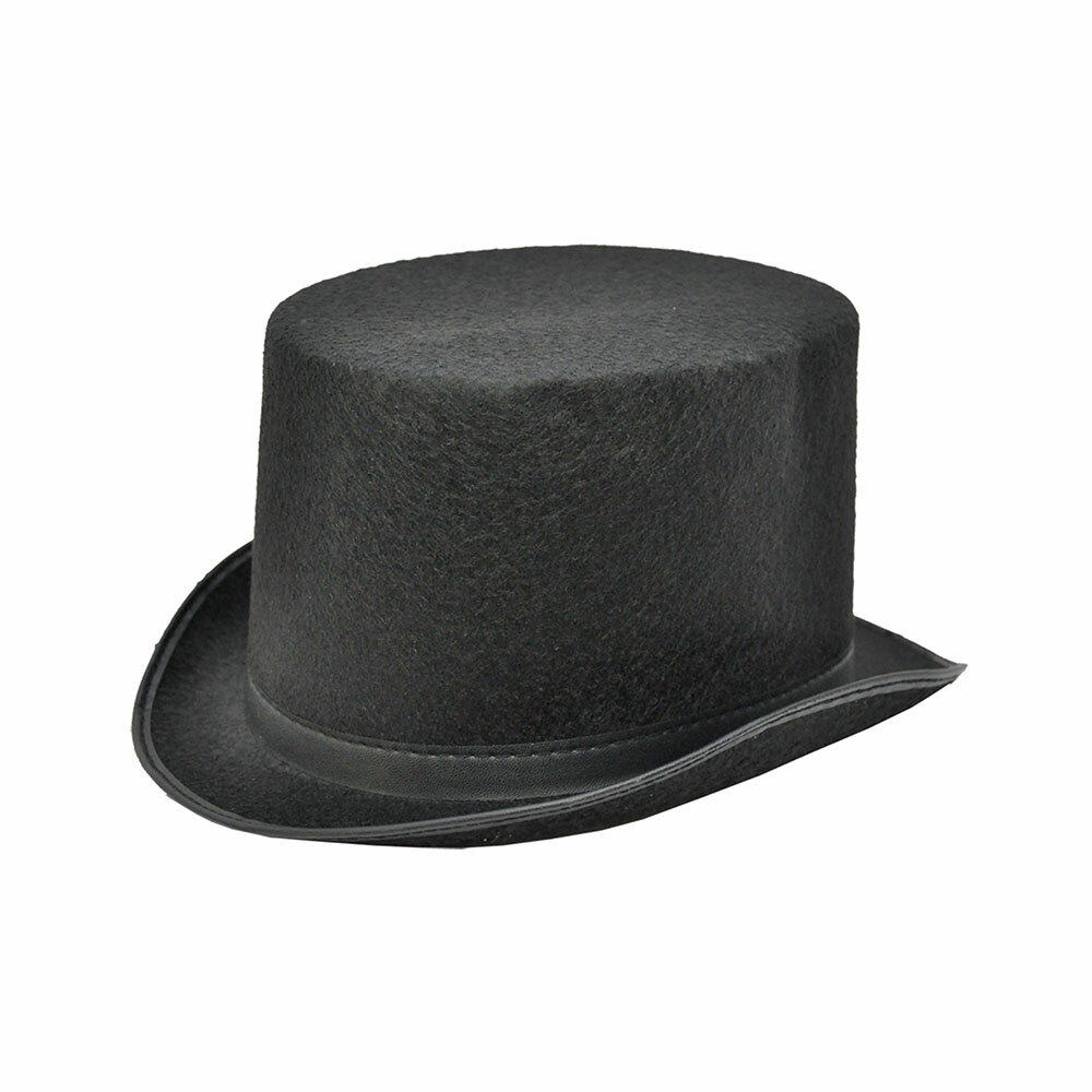 Jacobson Hat Company Halloween Party Creepy Scary Costume Top Hat Black Felt Large
