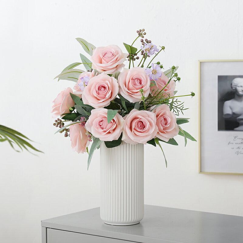 仿真玫瑰花假花絹花家居客廳裝飾餐桌擺件塑料花束婚慶花瓶插花藝